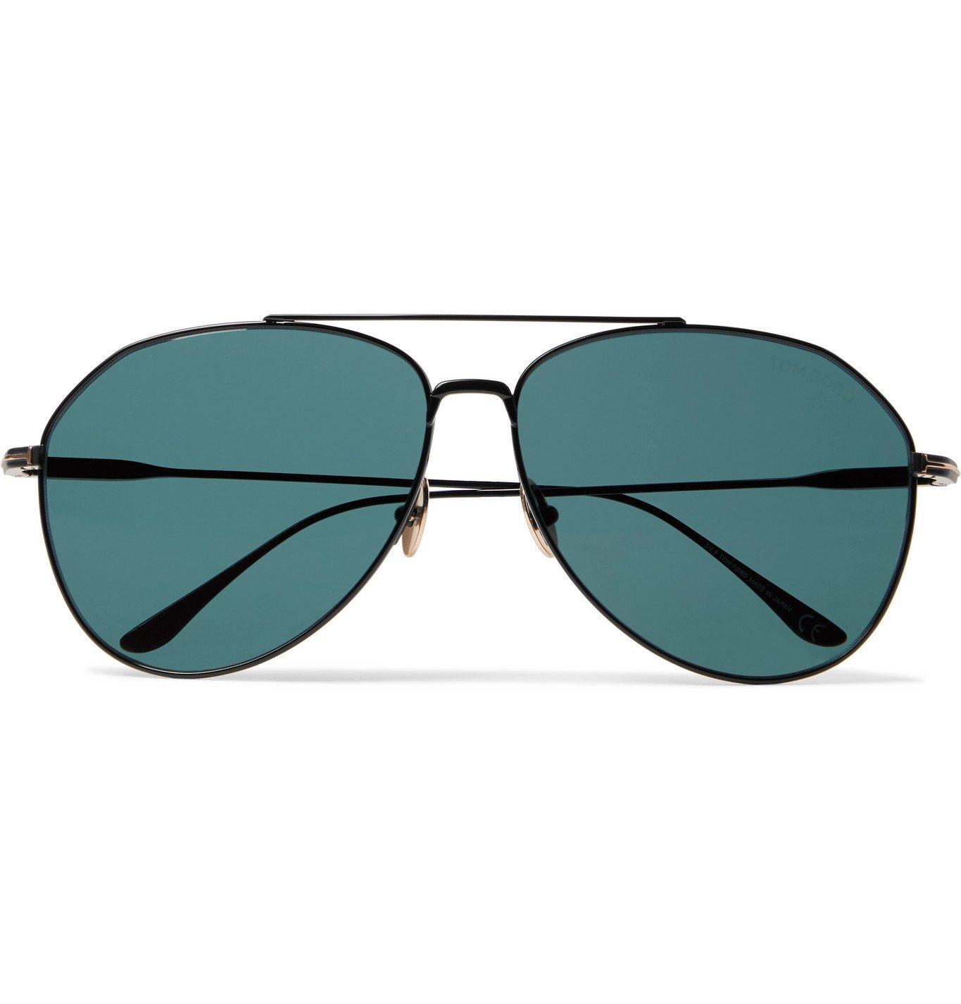 Photo: TOM FORD - Aviator-Style Titanium Sunglasses - Black