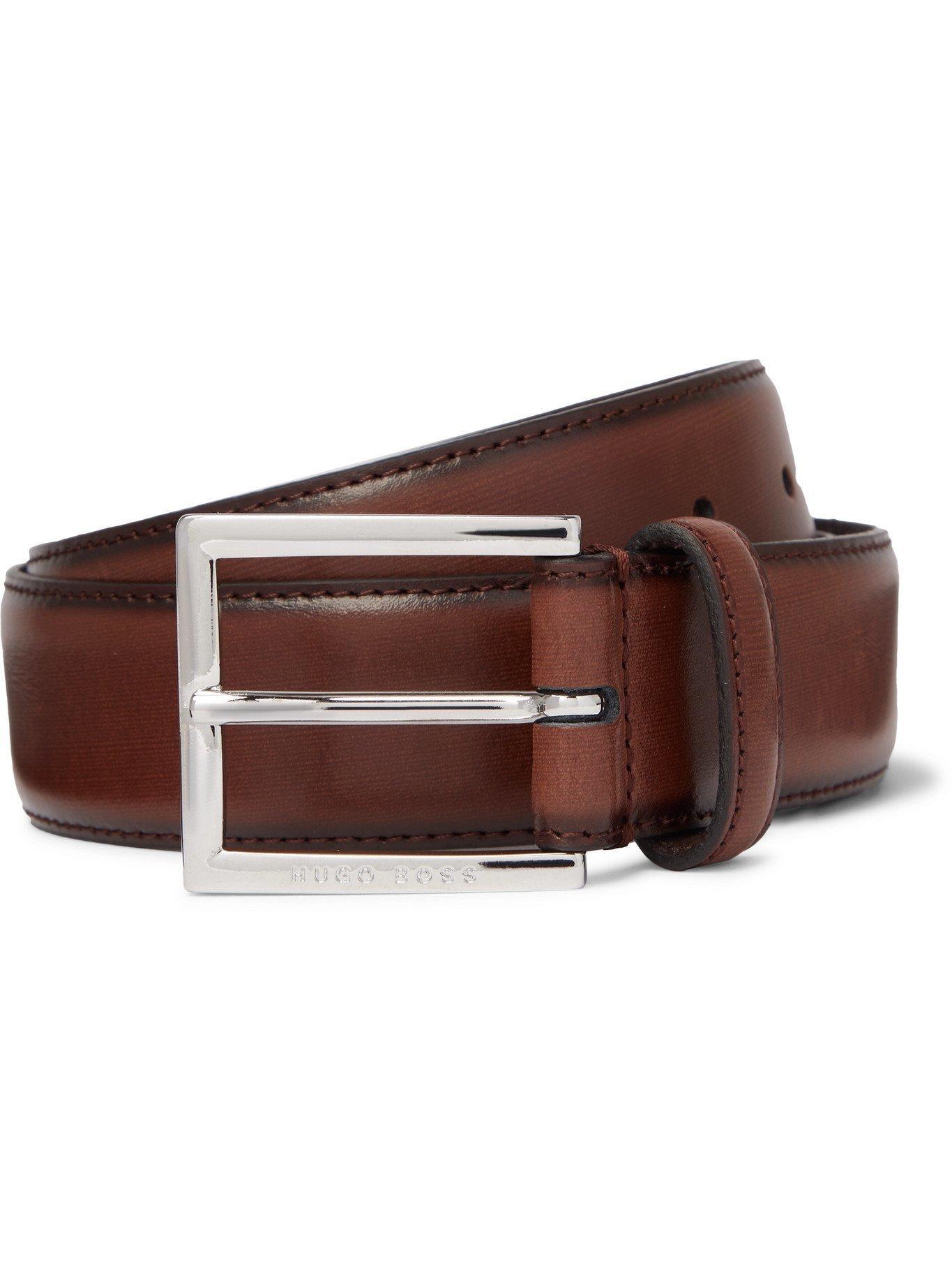 HUGO BOSS - 3.5cm Canzino Leather Belt - Brown - EU 100