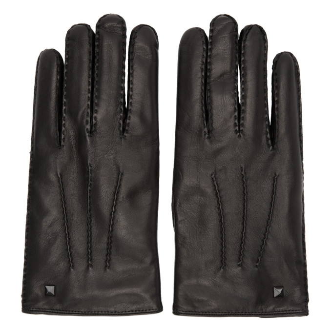 Photo: Valentino Black Valentino Garavani Leather Rockstud Gloves