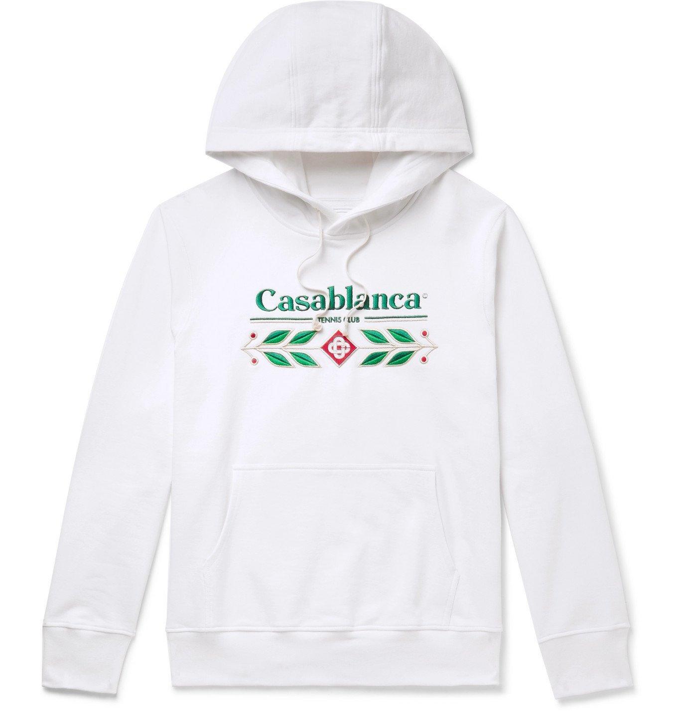 Photo: Casablanca - Laurel Logo-Embroidered Loopback Organic Cotton-Jersey Hoodie - White