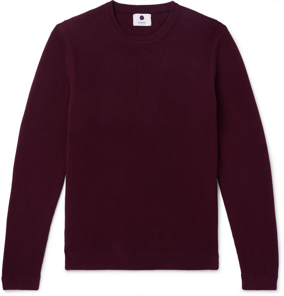 Photo: NN07 - Phil Slim-Fit Ribbed Cotton Sweater - Burgundy