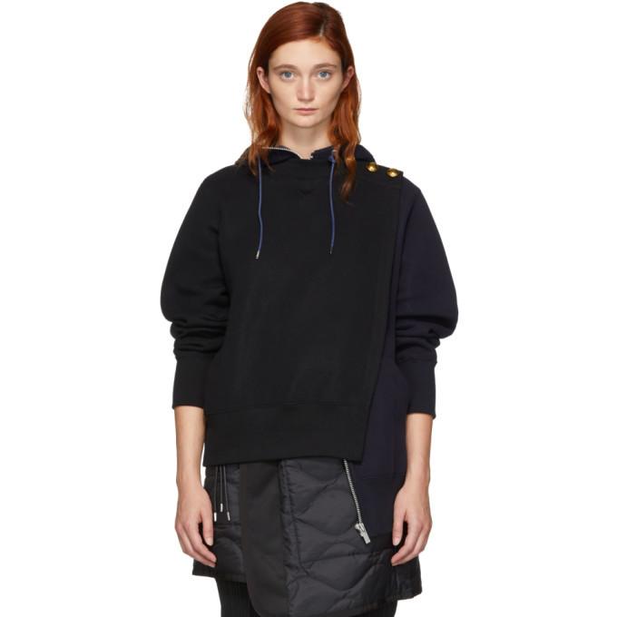 Sacai Black and Navy Pullover Zip Hoodie