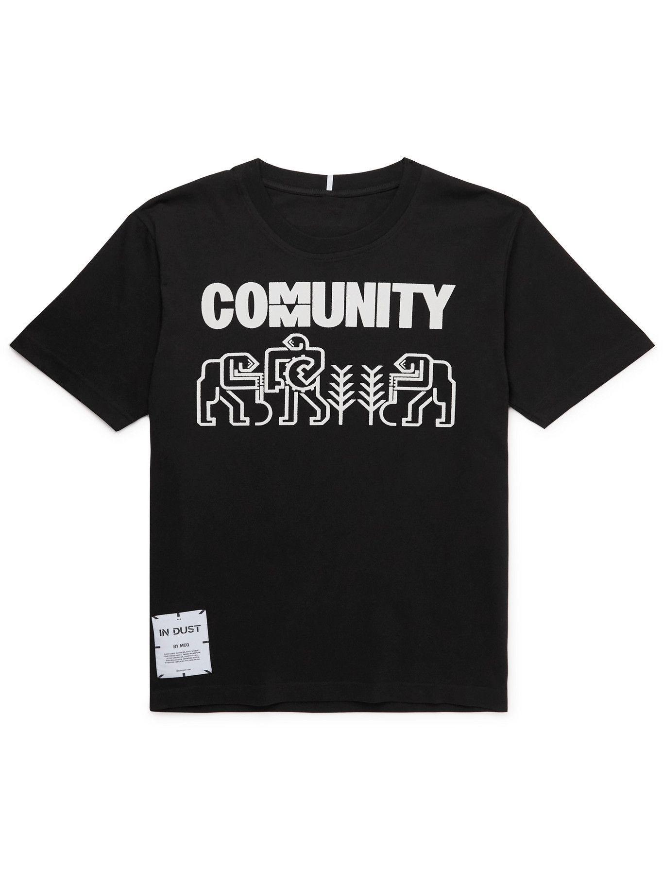 MCQ - In Dust Logo-Appliquéd Printed Cotton-Jersey T-Shirt - Black