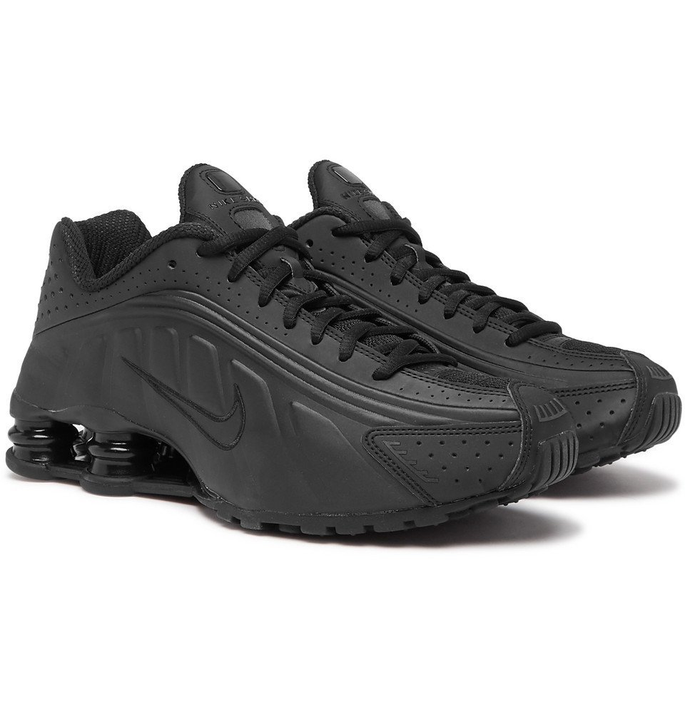 Photo: Nike - Shox R4 Mesh-Trimmed Faux Leather Sneakers - Black