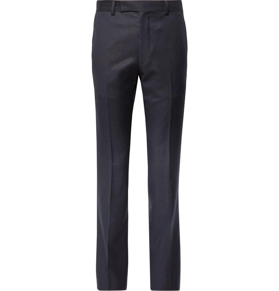 Photo: Wacko Maria - Slim-Fit Striped Wool Trousers - Navy