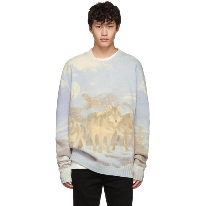 Photo: Amiri Blue and Multicolor Wolves Sweater