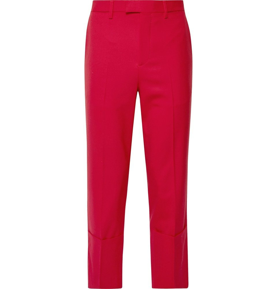 Photo: Raf Simons - Cropped Virgin Wool-Blend Trousers - Red