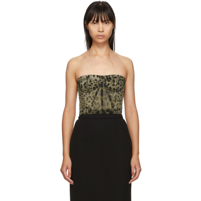 Photo: Dolce and Gabbana Tan Leopard Print Tulle Bustier