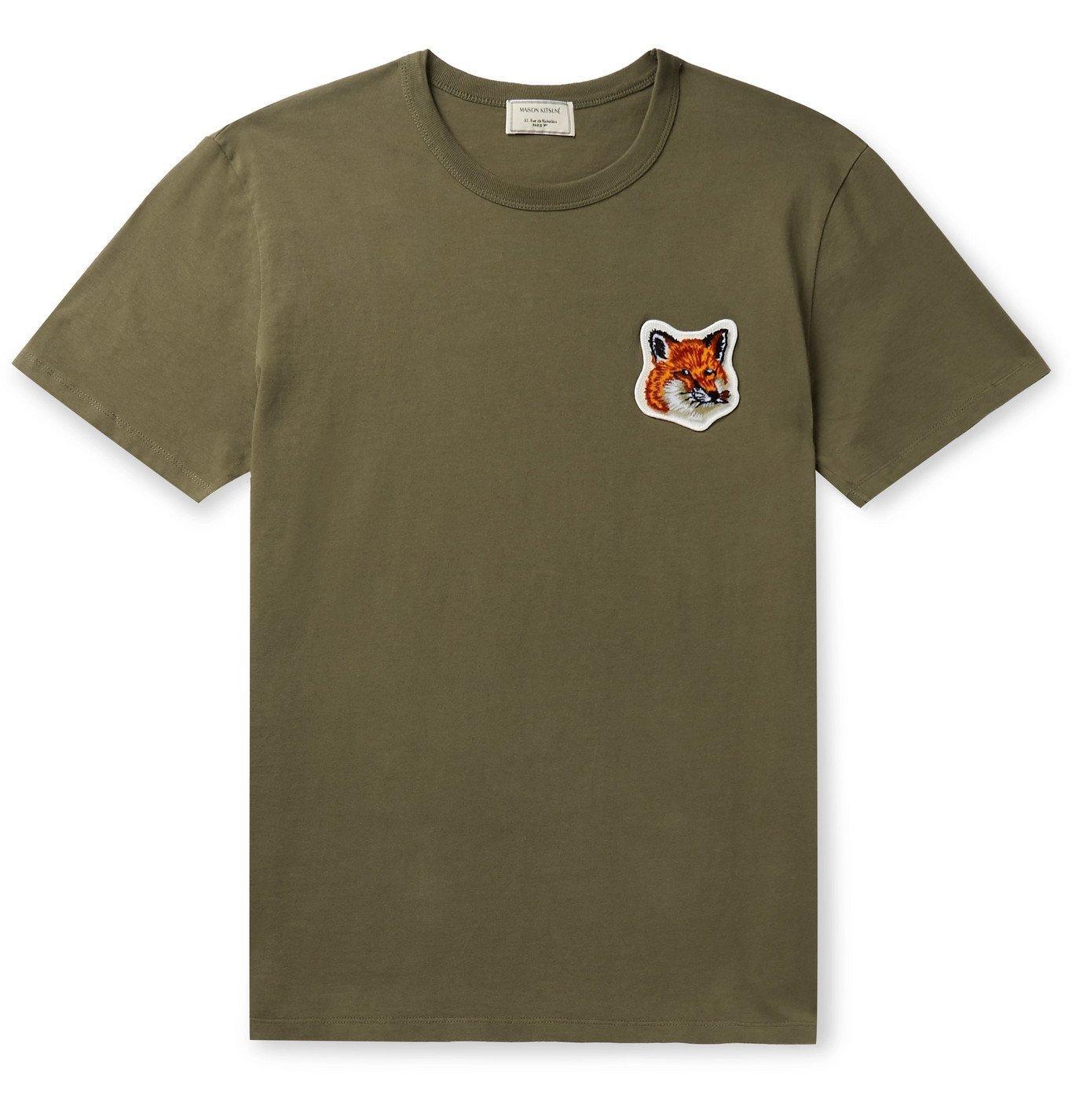 Photo: Maison Kitsuné - Logo-Appliquéd Cotton-Jersey T-Shirt - Green
