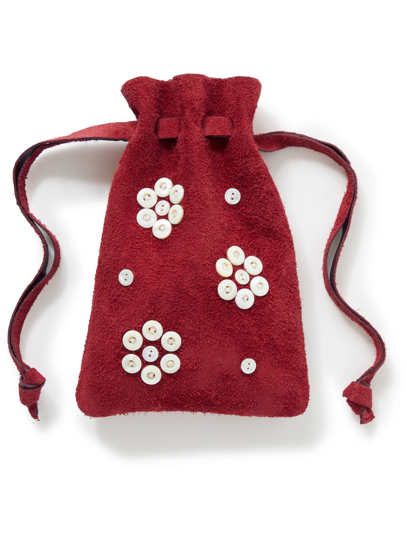Photo: BODE - Button-Embellished Logo-Print Suede Pouch