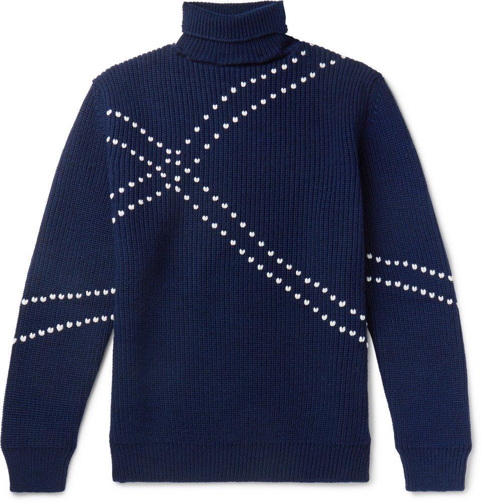 Raf Simons - Embroidered Virgin Wool Rollneck Sweater - Men - Navy