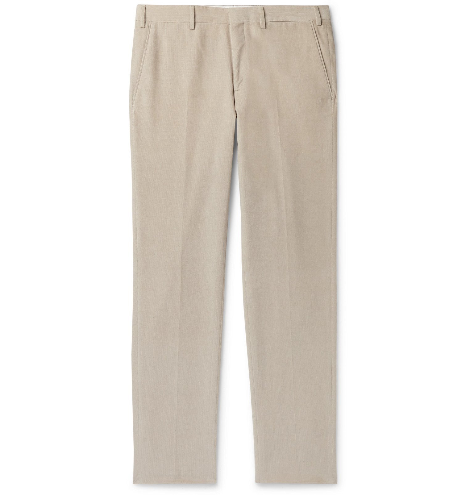 Photo: Brioni - Tapered Cotton-Corduroy Trousers - Neutrals