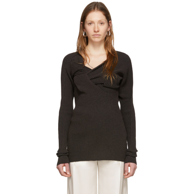 Photo: Bottega Veneta Brown Draped Knit Sweater
