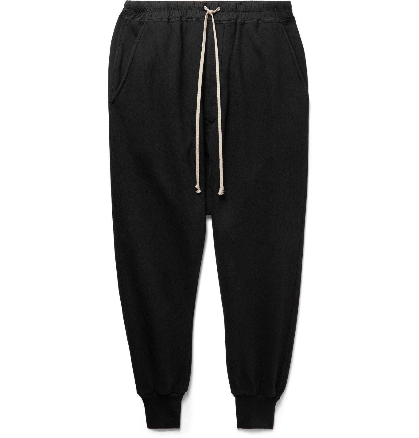 Photo: Rick Owens - DRKSHDW Poplin-Trimmed Fleece-Back Cotton-Jersey Drawstring Sweatpants - Black