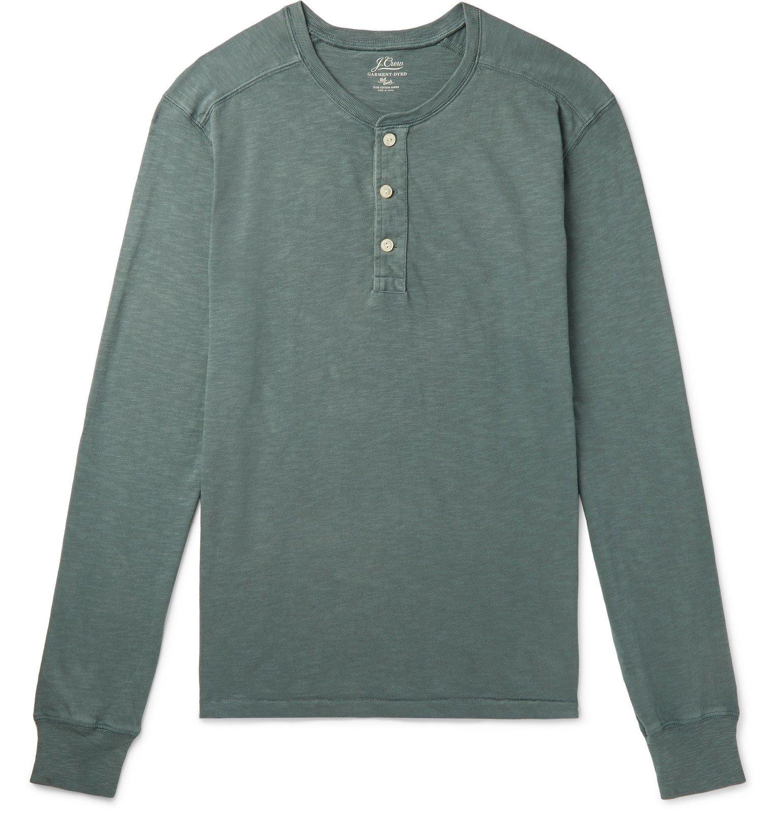 Photo: J.Crew - Slub Cotton-Jersey Henley T-Shirt - Green
