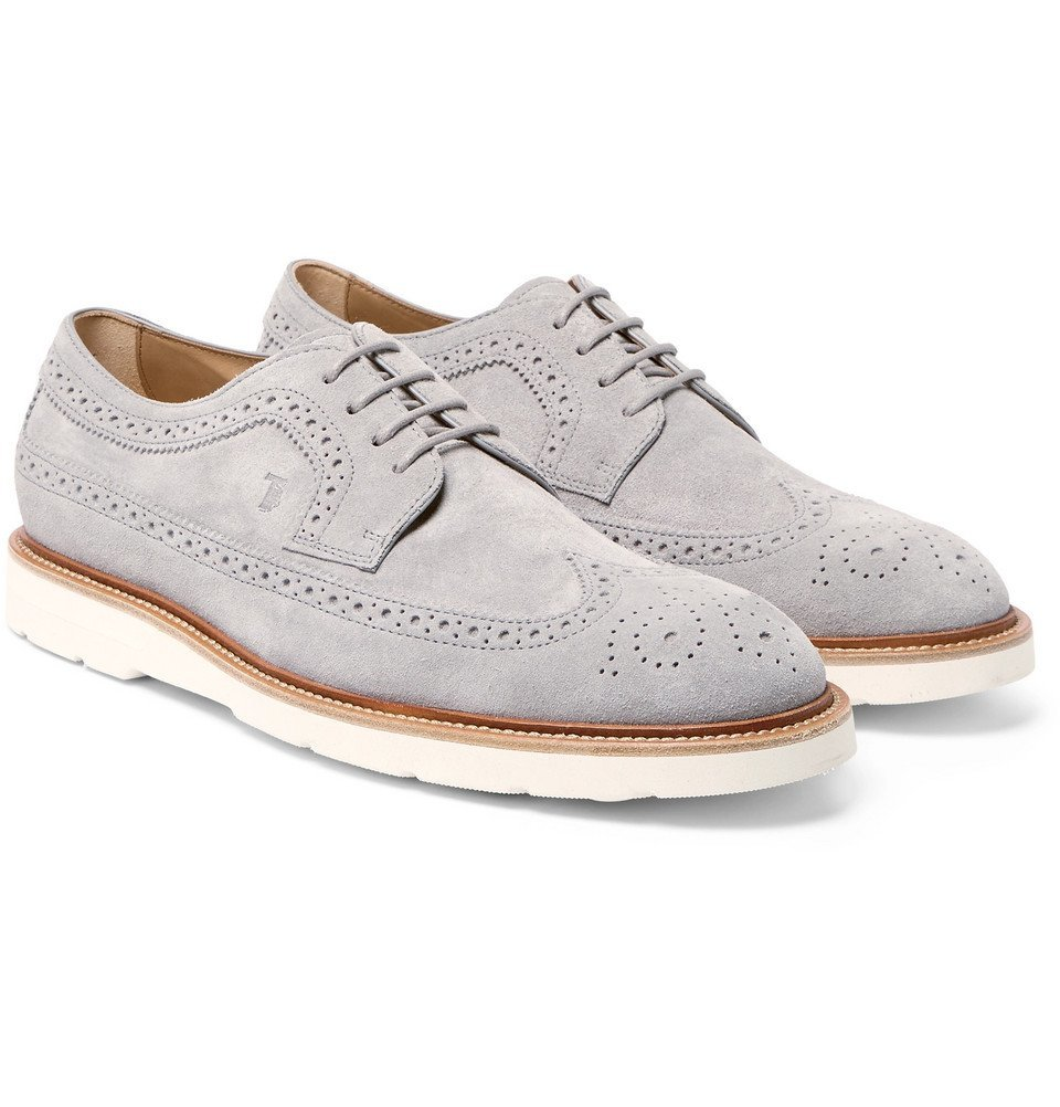 Photo: Tod's - Suede Longwing Brogues - Men - Gray