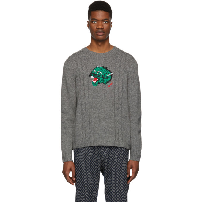 Photo: Gucci Grey Wool Panther Face Sweater