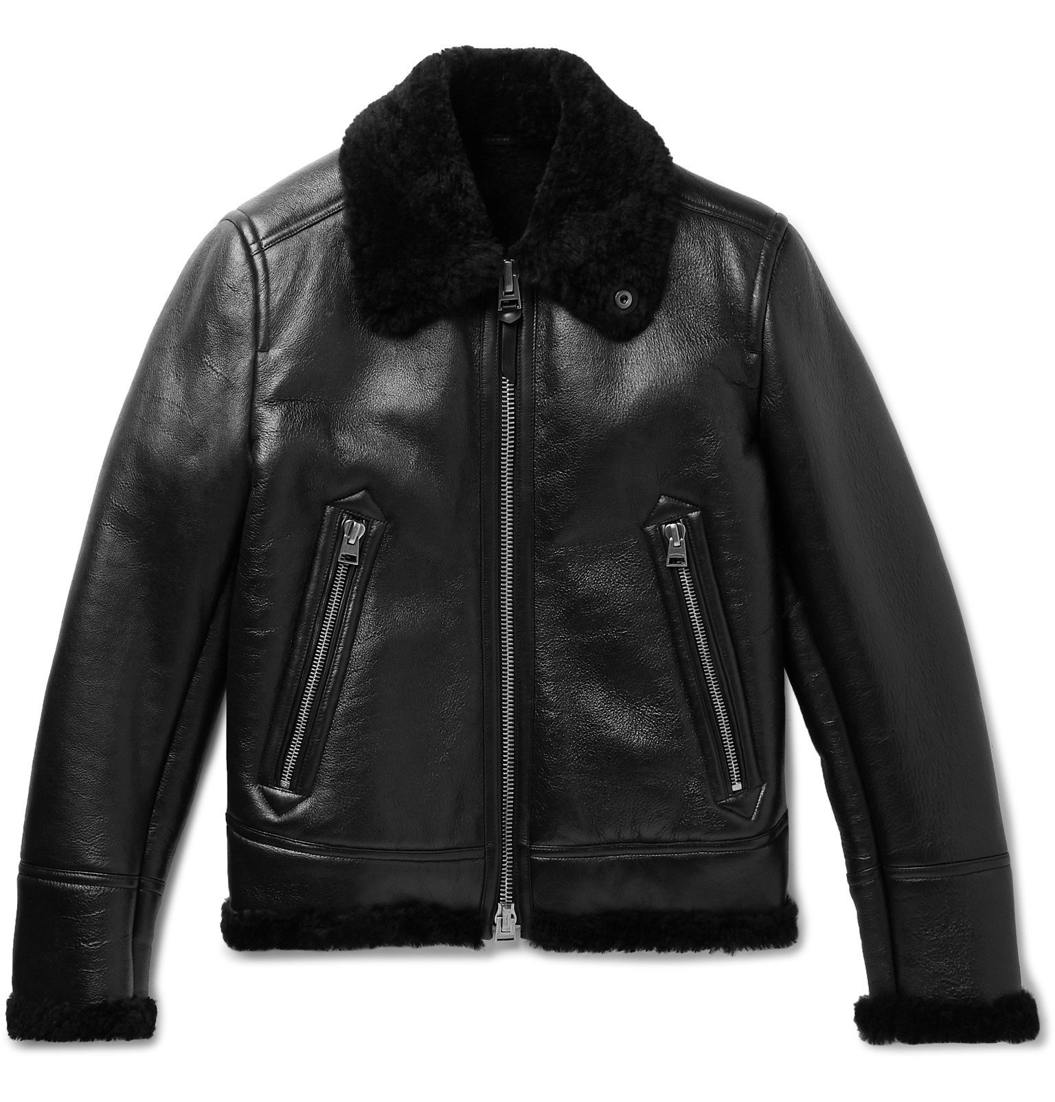 Photo: TOM FORD - Shearling-Lined Leather Aviator Jacket - Black