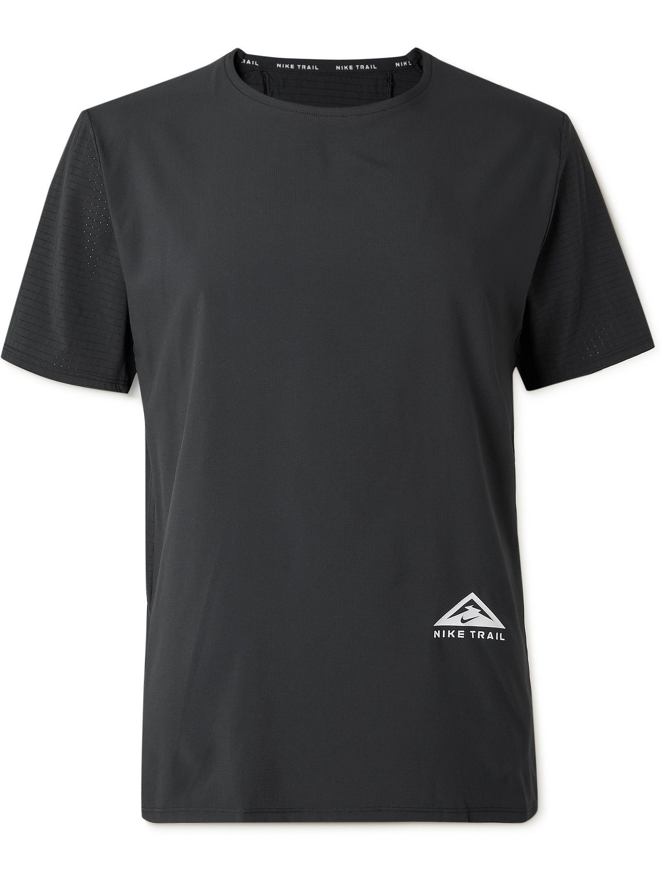 NIKE RUNNING - Rise 365 Logo-Print Dri-FIT Ripstop T-Shirt - Black