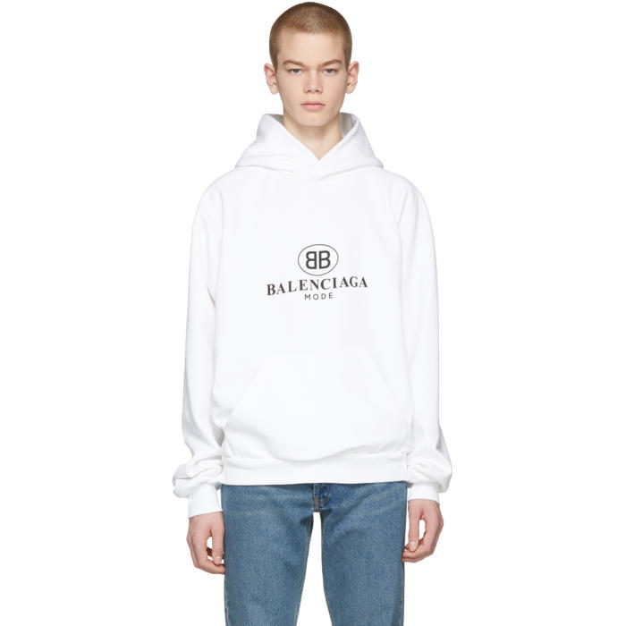 Photo: Balenciaga White BB Mode Hoodie