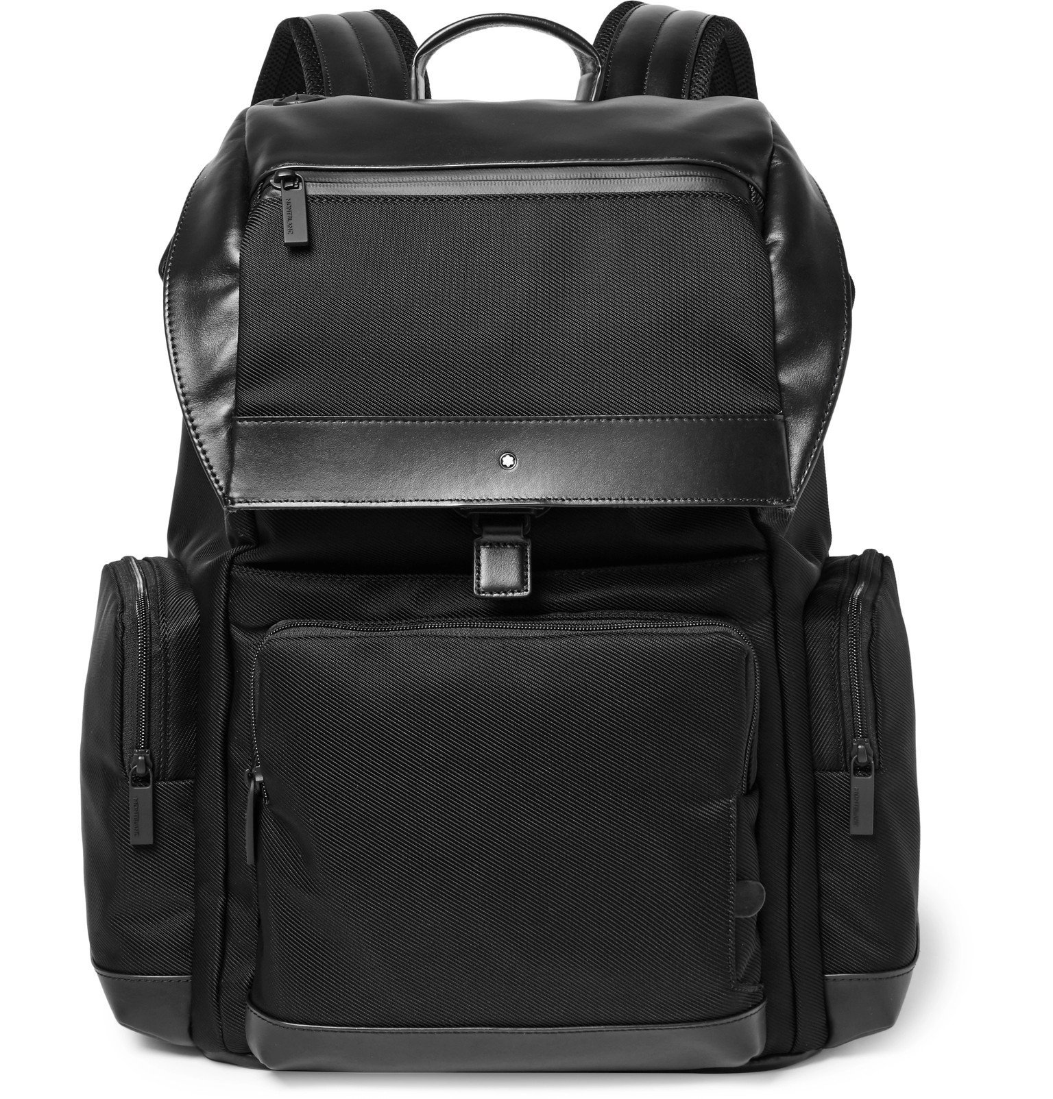 Photo: Montblanc - Nightflight Leather-Trimmed Canvas Backpack - Black