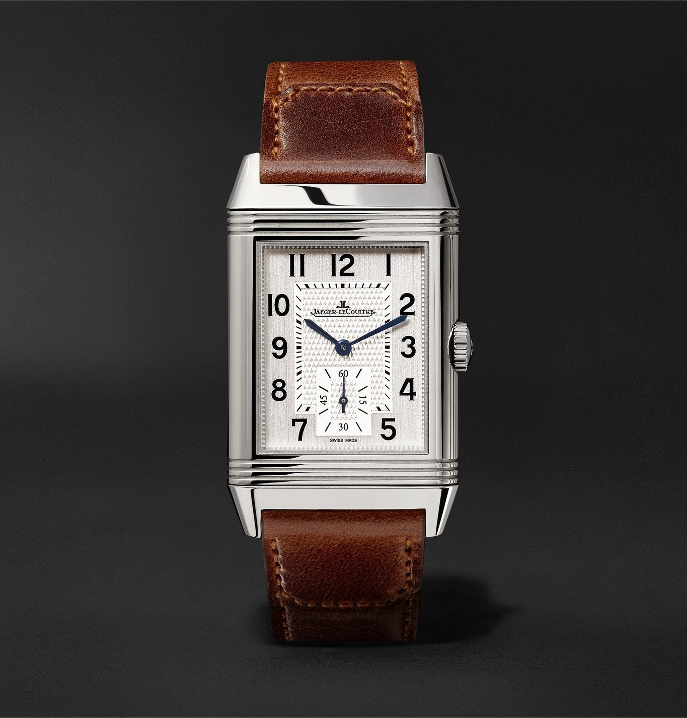 Photo: Jaeger-LeCoultre - Reverso Classic Large Duoface Hand-Wound 28mm Stainless Steel and Leather Watch, Ref. No. Q3848422 - Silver