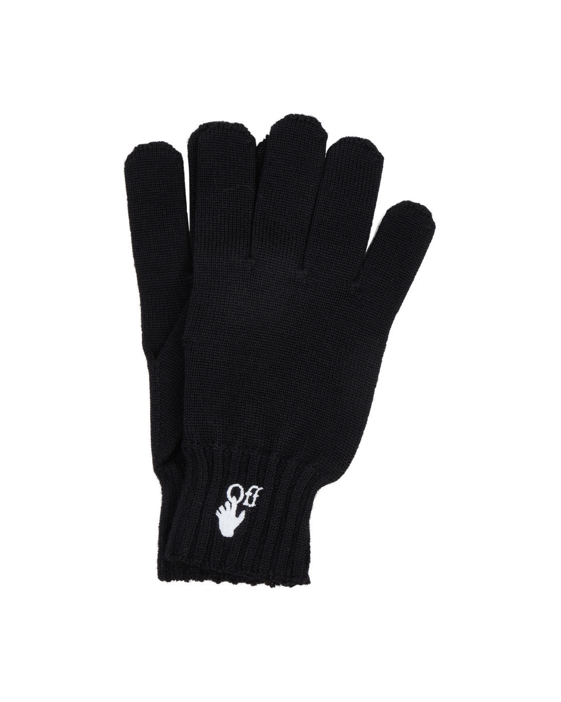 Photo: Off White Hand Off Wool Gloves Black White