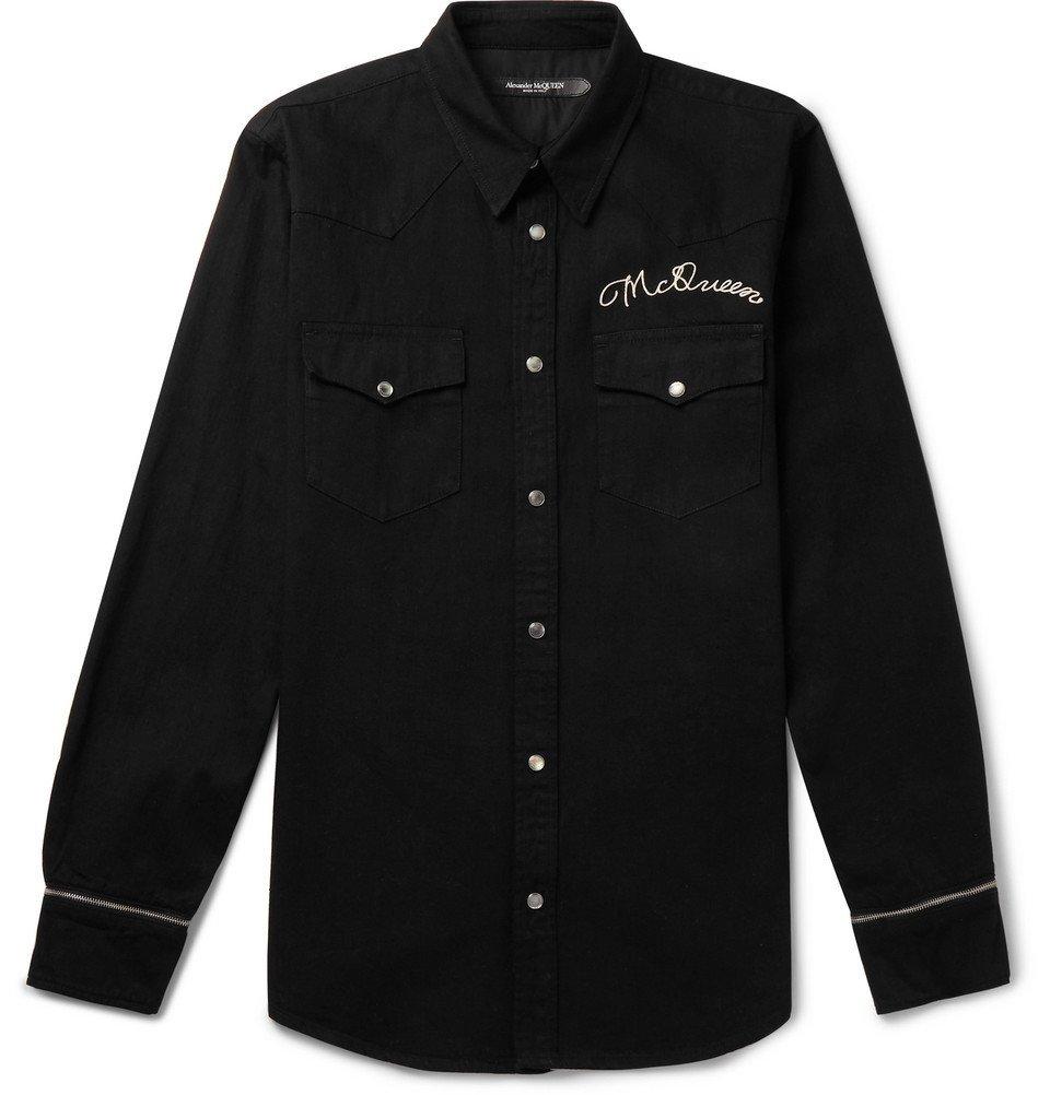 Photo: Alexander McQueen - Slim-Fit Logo-Embroidered Denim Western Shirt - Black