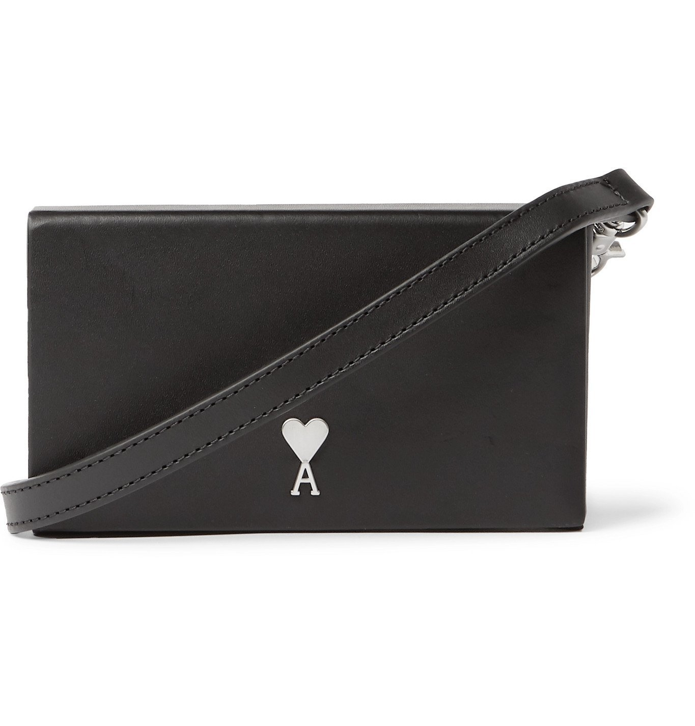Photo: AMI - Leather Messenger Bag - Black