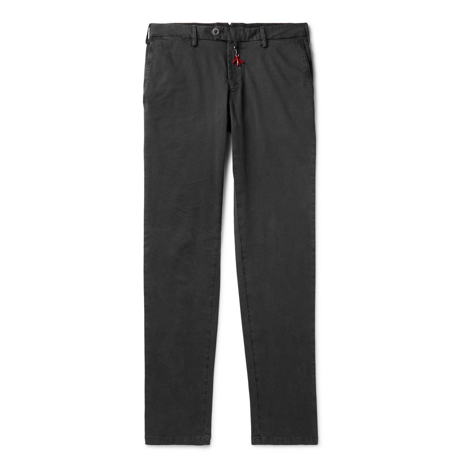 Photo: Isaia - Navy Slim-Fit Cotton-Blend Gabardine Chinos - Gray