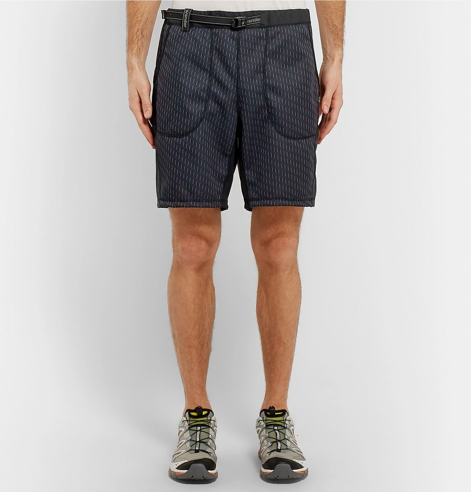And Wander - Panelled Shell and Jacquard Shorts - Charcoal