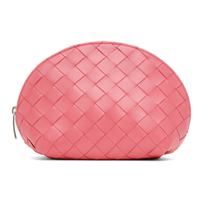 Photo: Bottega Veneta Pink Intrecciato Small Cosmetic Pouch