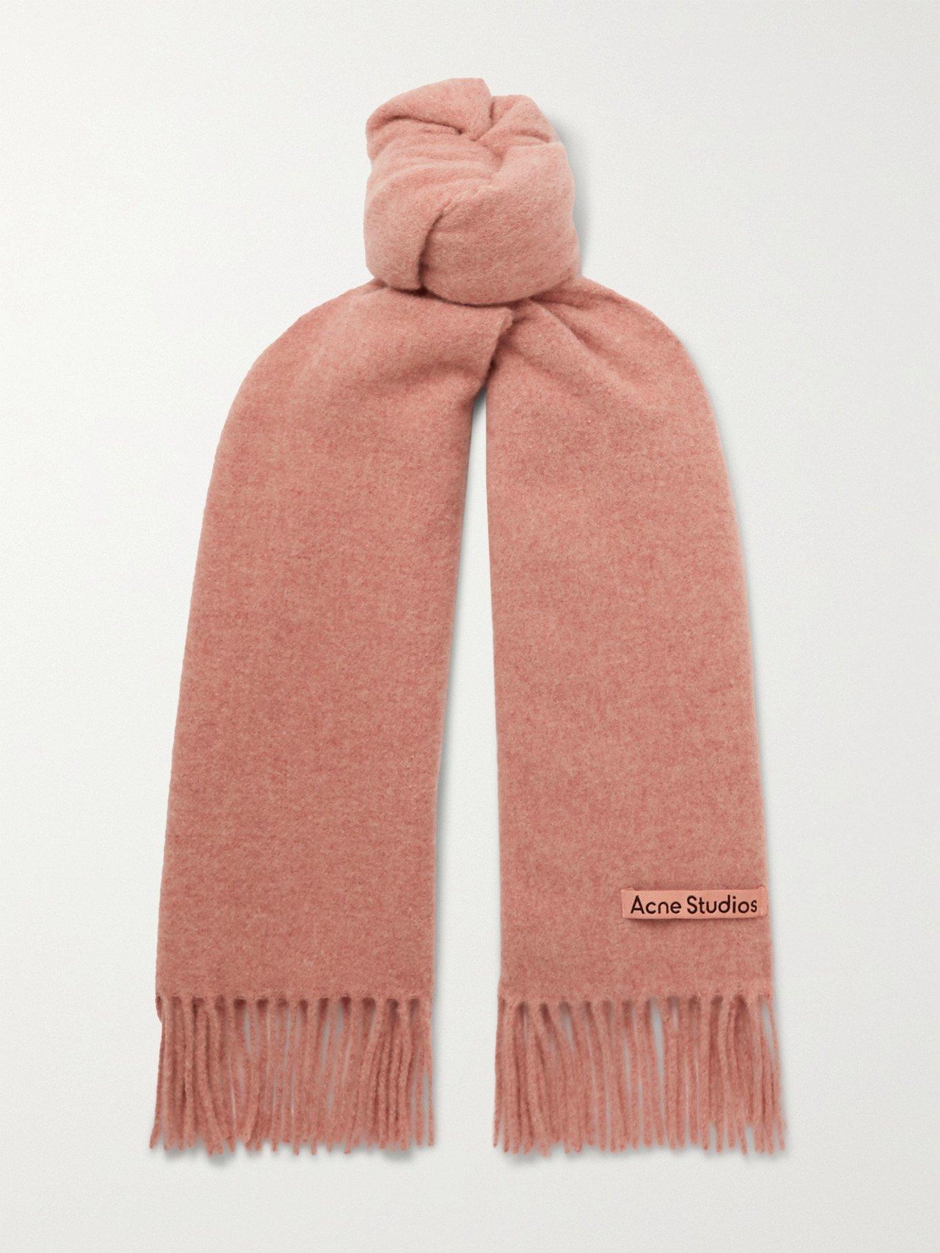 Photo: ACNE STUDIOS - Canada Narrow Fringed Mélange Wool Scarf - Pink