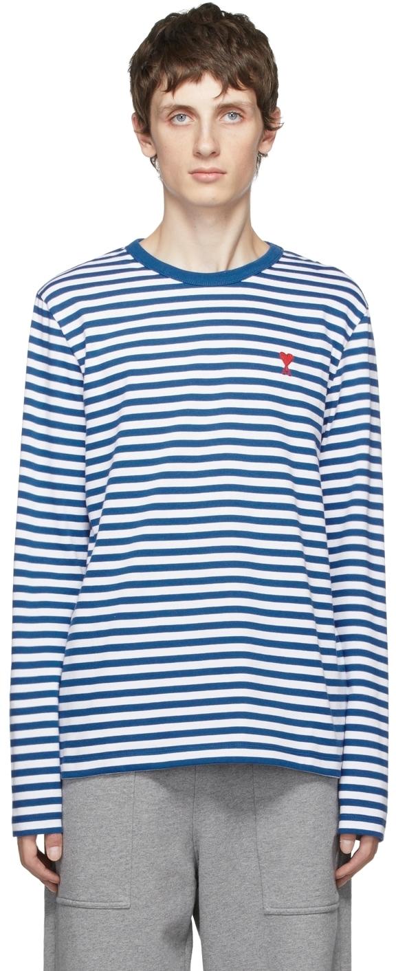 Photo: AMI Alexandre Mattiussi Blue & White Ami de Cœur Marinière Long Sleeve T-Shirt