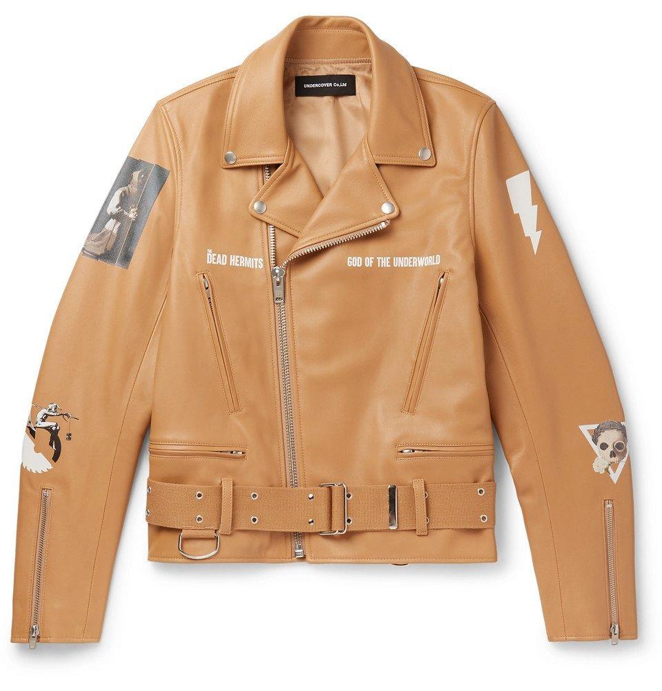 Photo: Undercover - Slim-Fit Printed Leather Biker Jacket - Brown