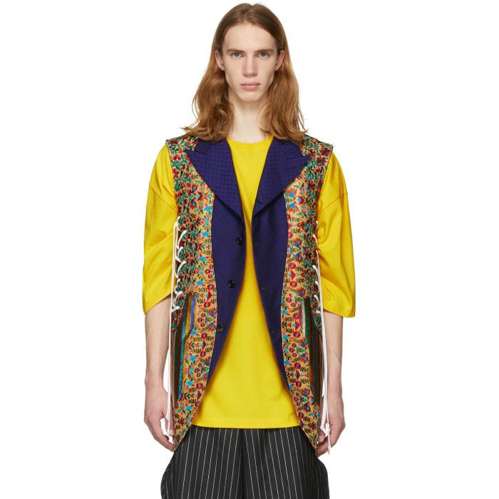 Photo: Comme des Garçons Homme Plus Reversible Multicolor Multi Fabric Lace-Up Vest