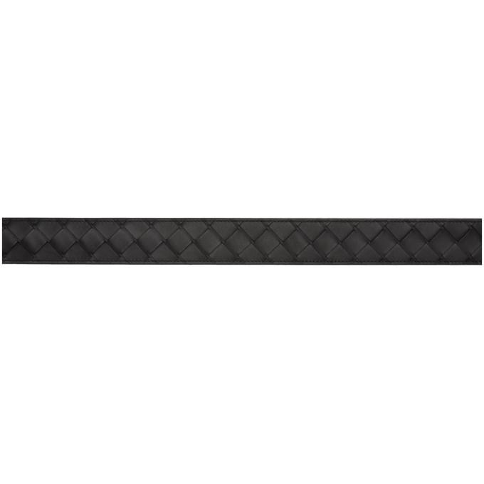 Bottega Veneta Black Leather Intrecciato Belt
