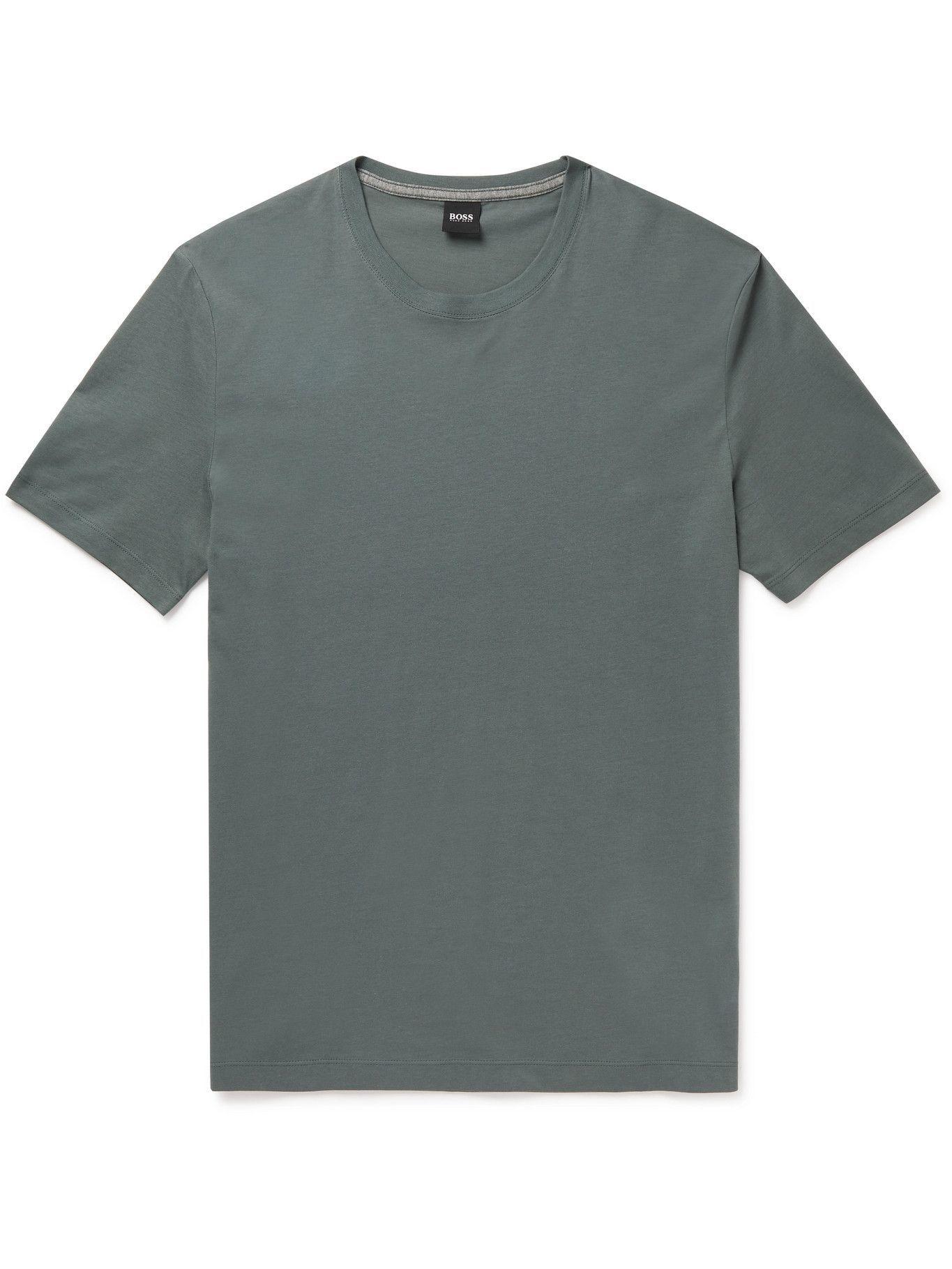 HUGO BOSS - Slim-Fit Cotton-Jersey T-Shirt - Green