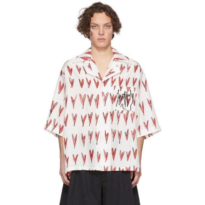 Photo: Charles Jeffrey Loverboy Off-White Oversized Hearts Print Hawaiian Short Sleeve Shirt