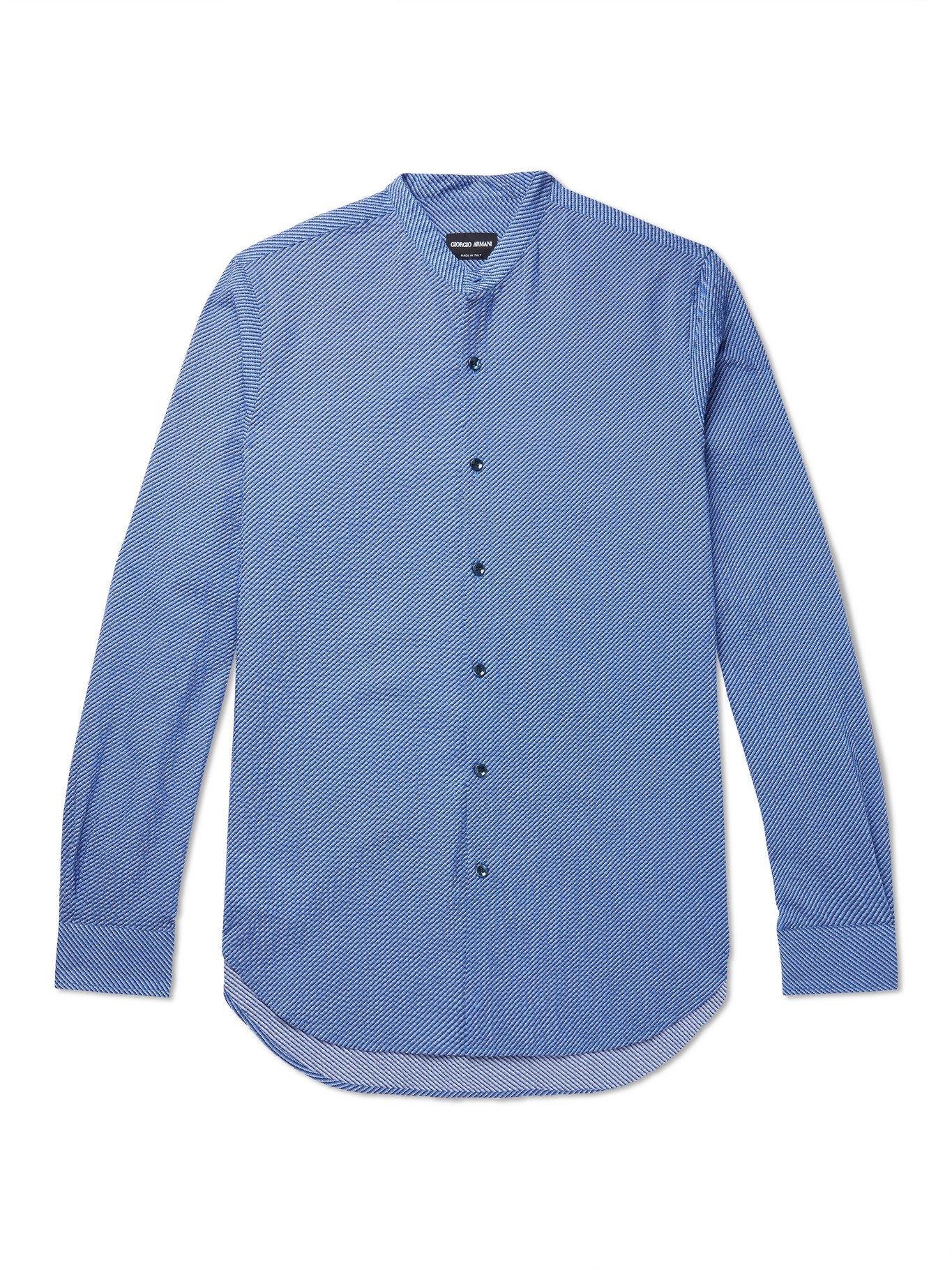Photo: GIORGIO ARMANI - Grandad-Collar Cotton-Seersucker Shirt - Blue
