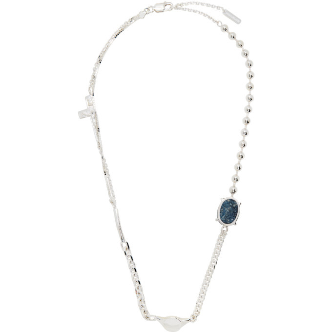 Photo: SWEETLIMEJUICE Silver Half Crucifix Signet Denim Oval Necklace