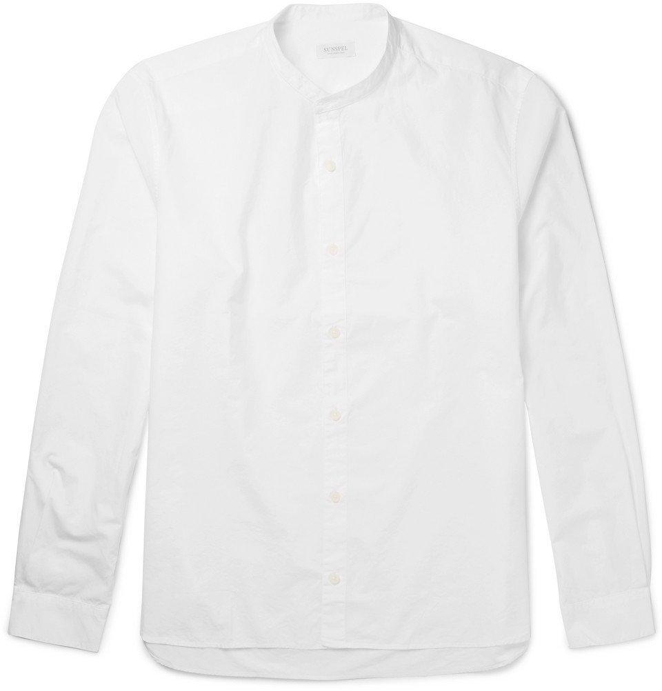 Sunspel - Grandad-Collar Cotton-Poplin Shirt - Men - White