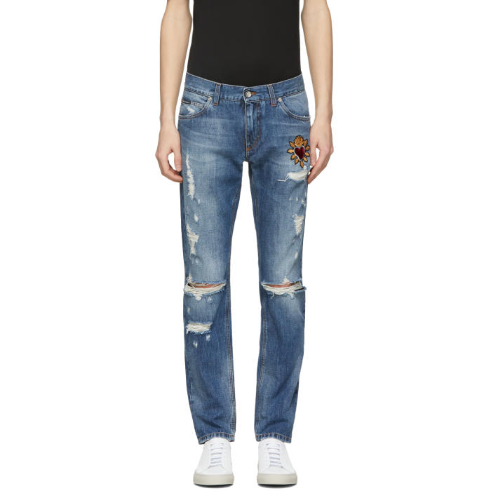 Black Heavy Distressed Skinny Jeans Dolce & Gabbana Excellent Cheap Sale Eastbay QVf4wOL