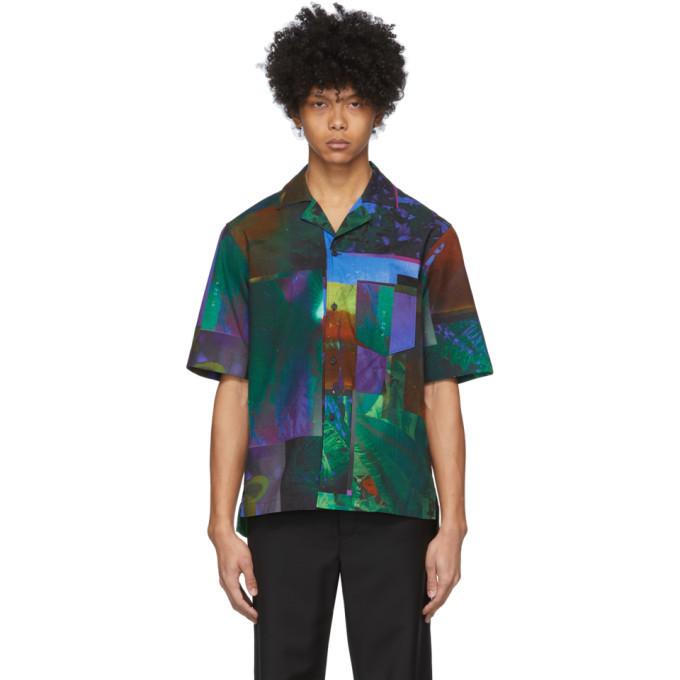 Photo: Acne Studios Navy and Green Botanical Print Short Sleeve Shirt