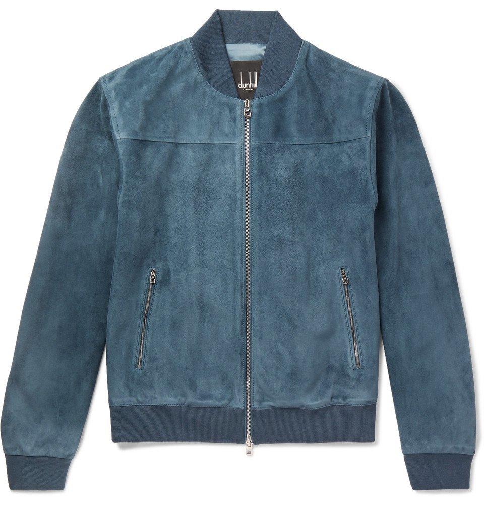 Dunhill - Suede Bomber Jacket - Men - Blue