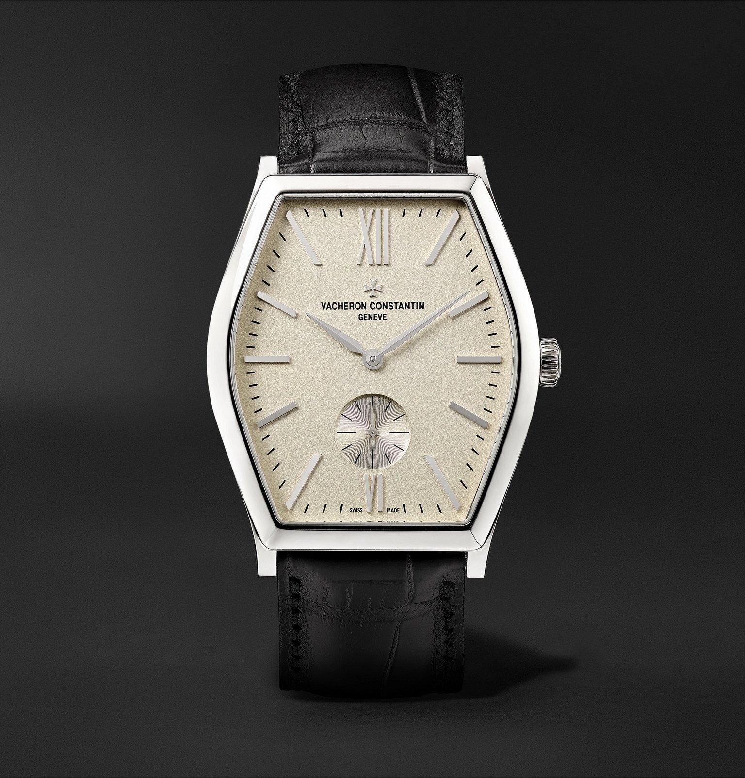 Photo: Vacheron Constantin - Malte Hand-Wound 42mm 18-Karat White Gold and Alligator Watch, Ref. No. 82230/000G-9962 - Black