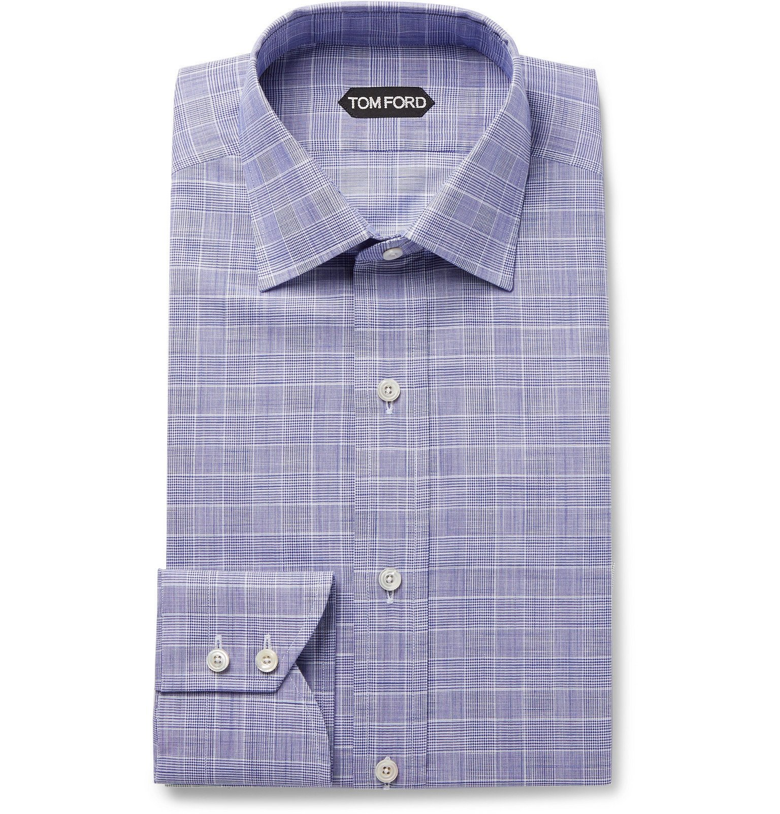 Photo: TOM FORD - Navy Slim-Fit Prince of Wales Checked Cotton-Poplin Shirt - Blue