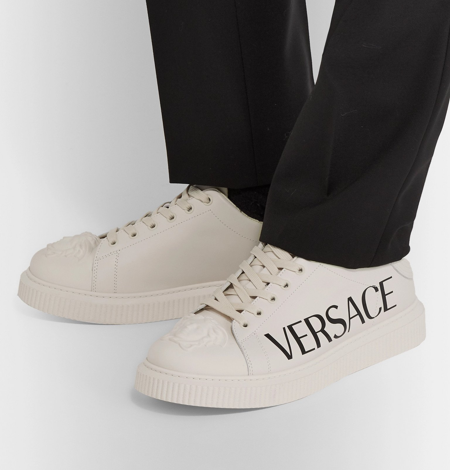 Versace - Logo-Print Rubber-Trimmed Leather Sneakers - Neutrals