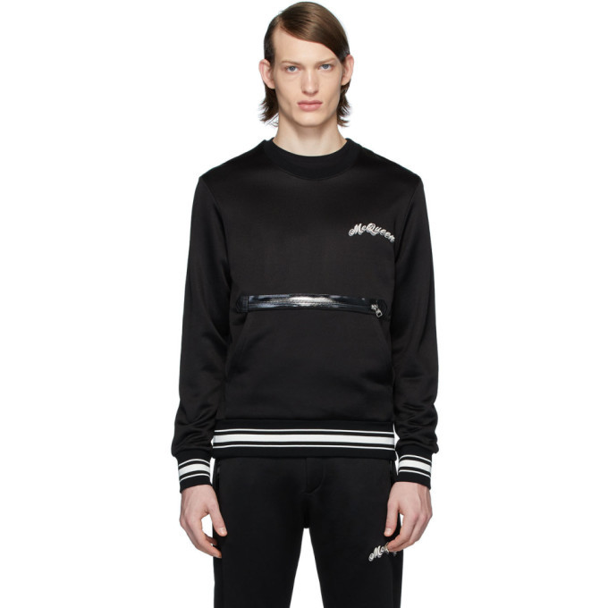 Photo: Alexander McQueen Black Embroidered Logo Pocket Sweatshirt