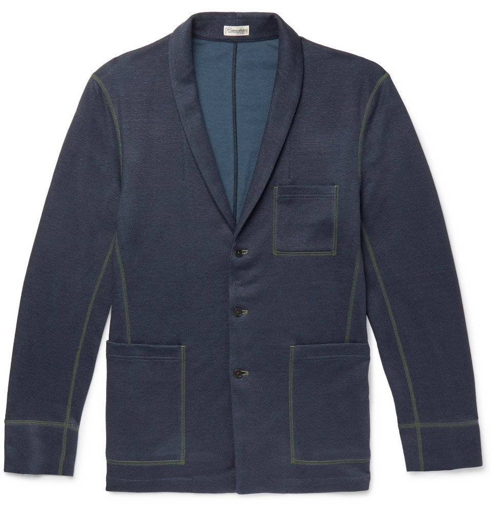 Photo: Camoshita - Slim-Fit Shawl-Collar Knitted Cardigan - Navy